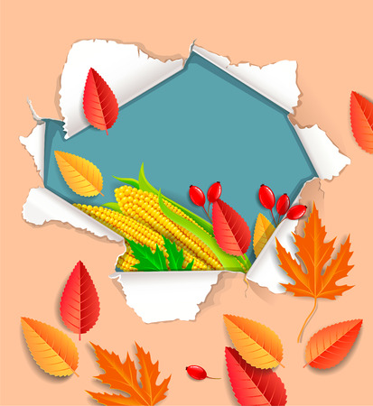 Colored autumnal vector background ready for design Illustration