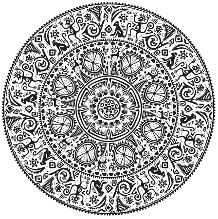 Monochrome round seamless ornament in ethnic African style Ilustração