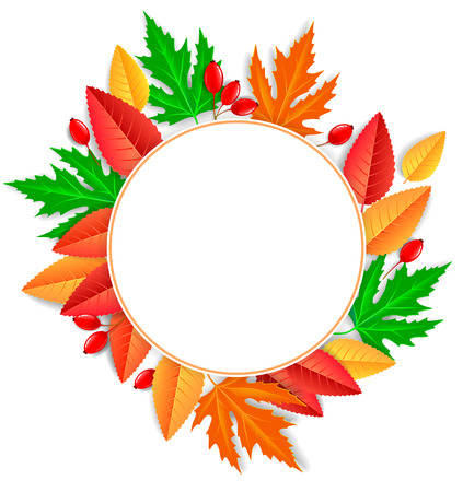 Round bright frame of autumn leaves.