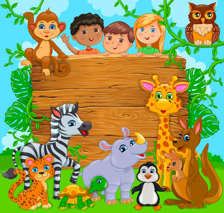 Cartoon happy cute kids with animal. Wooden banner. Vector illustration