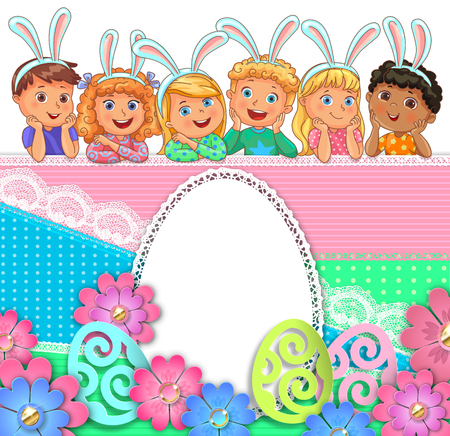 Easter bright egg design of paper lace flowers and kids.
