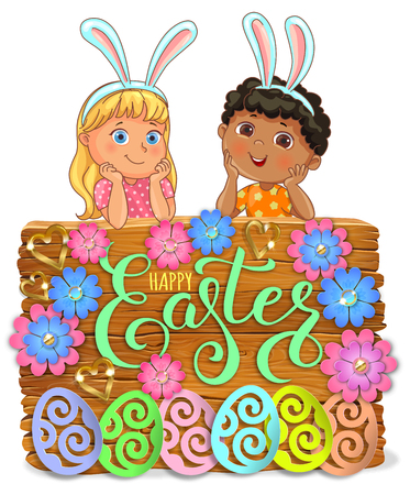 Easter bright wooden banner design paper flowers with lace and kids.