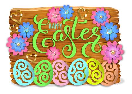 Easter bright wooden banner design paper flowers. Ilustração