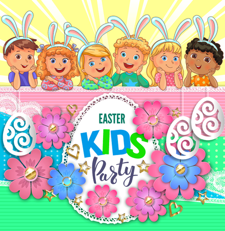 Easter party poster with flowers and children with rabbit ears.