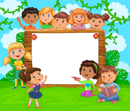 Wooden banner with white blank paper and cute kids on green. Ilustração