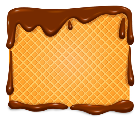 Waffle in chocolate banner. Vector illustration