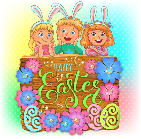 Happy Easter wooden banner with paper flowers and cute kids.