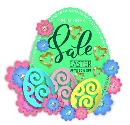 Easter sale paper design egg and flowers. Vector illustration.