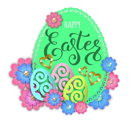 Happy easter paper design egg and flowers. Vector illustration