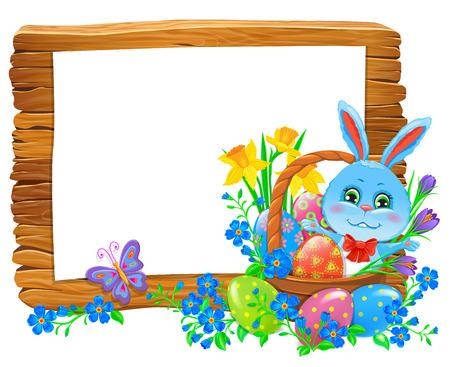 Happy easter wooden banner with rabbit in basket and flowers. Vector illustration Ilustração