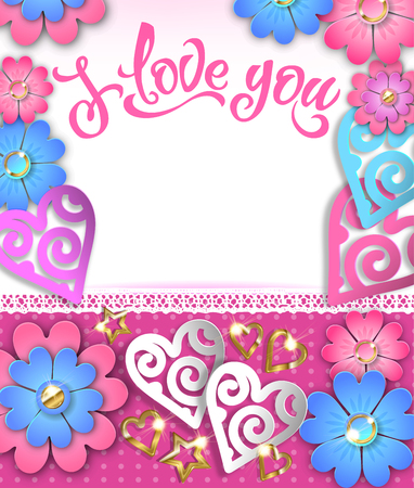 Banner I love you with paper hearts and flowers. Vector Eps10.