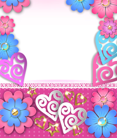 Blank banner  with paper cut hearts and flowers. Ilustração