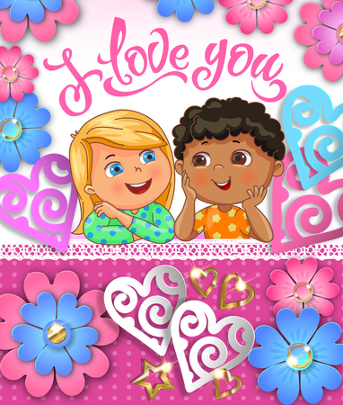 I love you cute children greeting card with paper cut hearts. Vector Eps10.