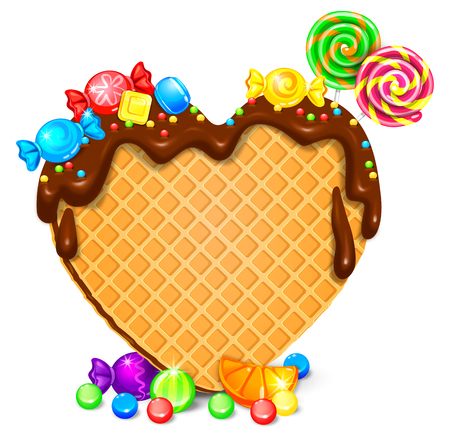 Waffle heart with chocolate and sweets. Blank for your text. Eps vector