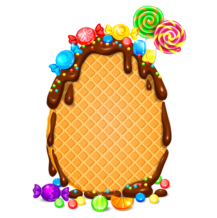Easter egg waffle in chocolate blank banner Vector illustration