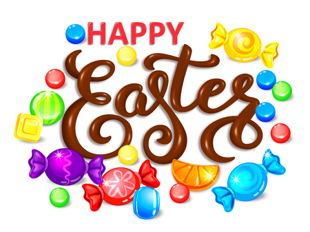 Happy easter chocolate word lettering with lollipops and candy