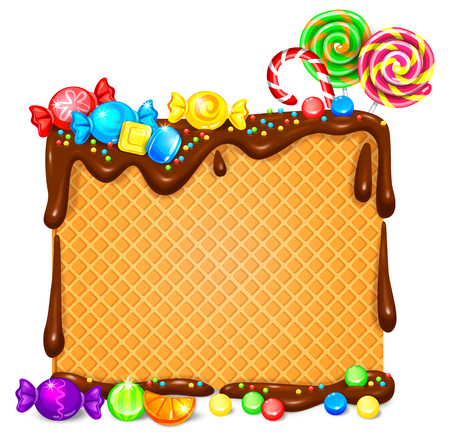 Waffles in chocolate and lot of bright lollipops and candy banner. Vector illustration Ilustração