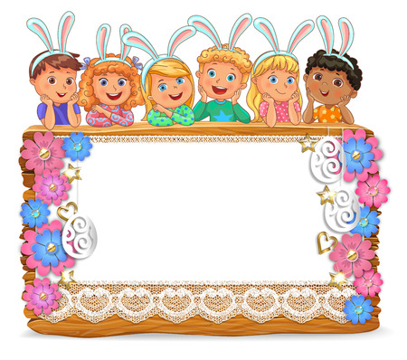 Cute kids with bunny ears on wooden board with blank banner.Papper flowers and Easter eggs. Vector illustration