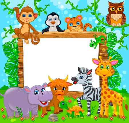 Cute animals near wooden board and blank white banner. Vector banner.