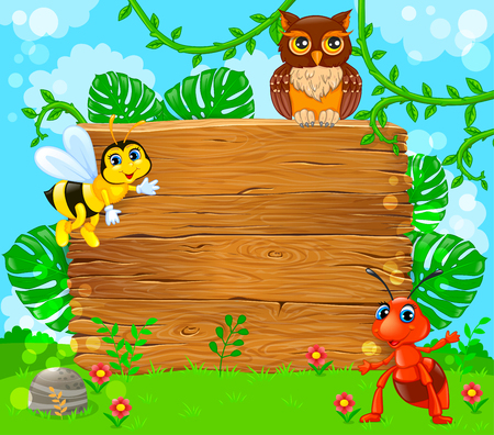 Cute ant bee and owl near empty wooden banner. Vector illustration. Ilustração