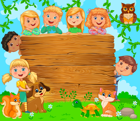 Cute children and pets near wooden blank banner. vector illustration.