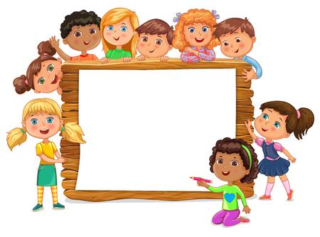 Cute kids standing near blank wooden banner. Vector EPS10.