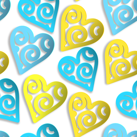 Seamless pattern paper hearts blue and yellow. EPS 10. Ilustração