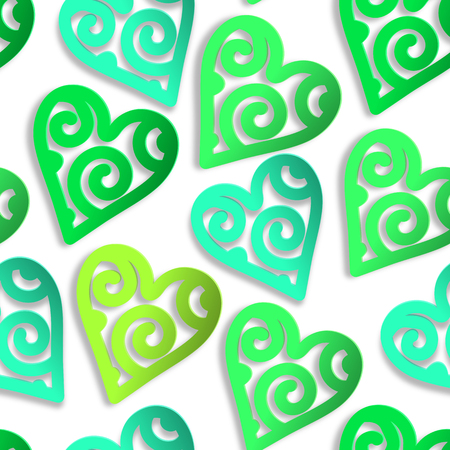 Seamless pattern paper hearts green. EPS 10.