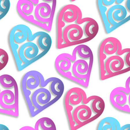 Paper hearts seamless pattern.