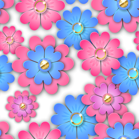 Paper flowers seamless pattern on white. EPS 10