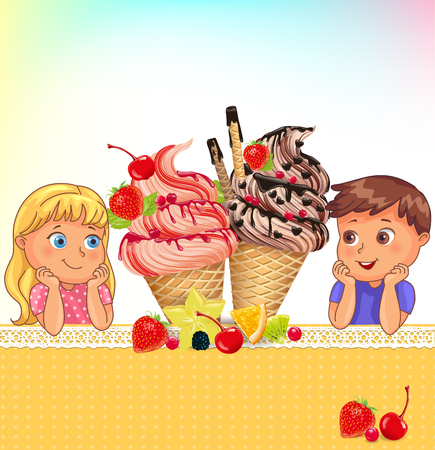 Composition kids and ice cream blank place for your text EPS 10.