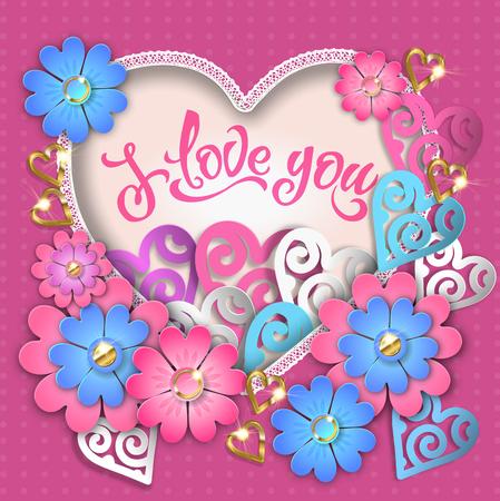 I love you composition with hearts. EPS 10. Ilustração