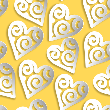 Seamless pattern paper white on yellow. Ilustração