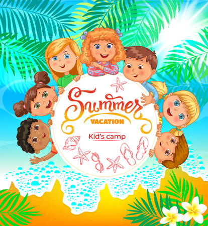 Kids summer camp banner with cute kids.