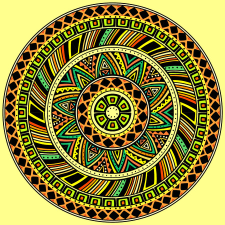 Bright round ethnic pattern. Ilustração