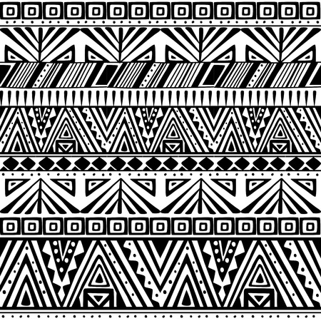 Black and white ethnic primitive seamless pattern.