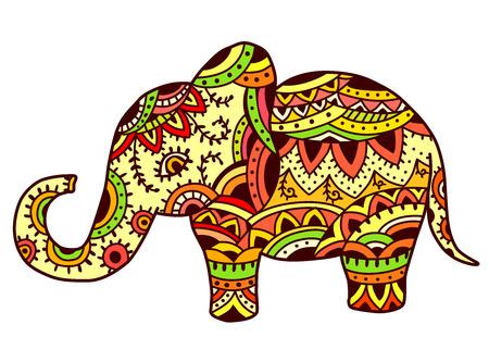 Elefante decorativo en patrón étnico. EPS 10.