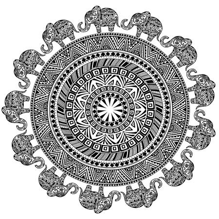 Round Pattern with Ethnic Elements and Elephants. Ilustração