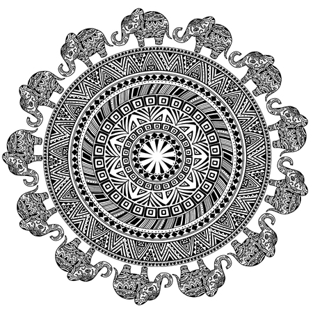 Round Pattern with Ethnic Elements and Elephants. Illustration