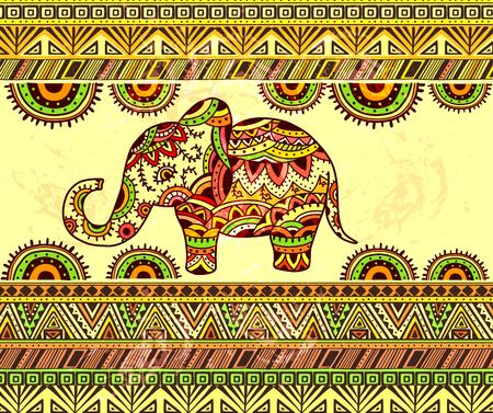 Bright horizontal ethnic pattern with elephant. EPS 10. Ilustração