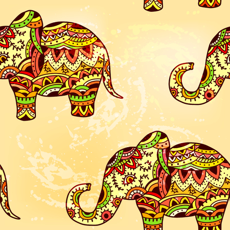 Seamless bright ethnic pattern with elephant. EPS 10.