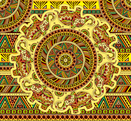 Seamless pattern with indian elephant and ethnic element. EPS 10.