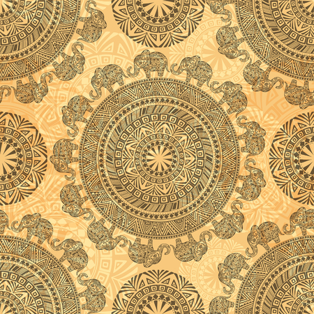 Seamless Pattern with Ethnic Elements and Elephants. EPS 10.