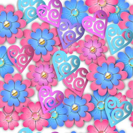 Seamless pattern paper cut flowers and hearts. EPS 10. Ilustração