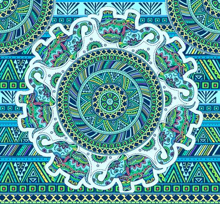 Horizontal blue pattern with elephants and ethnic elements. EPS 10.