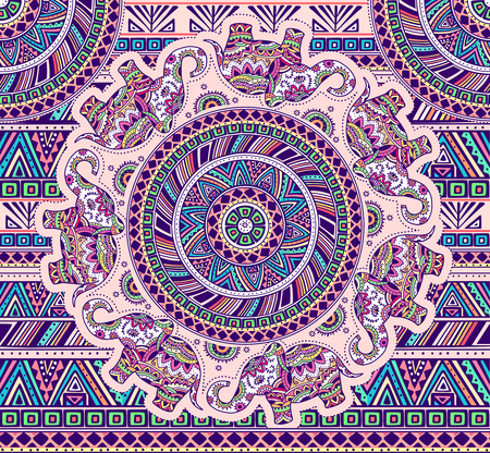 Horizontal pattern with elephants and ethnic elements. EPS 10.