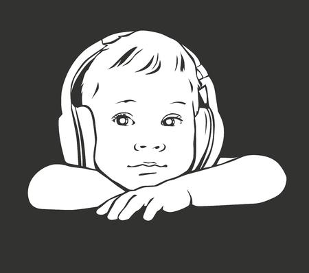 Silhouette baby in headphones.