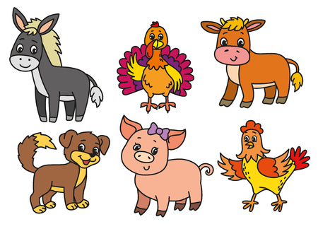 Pets cartoon illustration set. EPS 10. Ilustração
