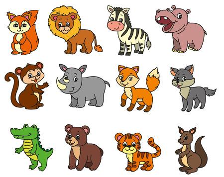 Wild animals cartoon illustration set. EPS 10. Ilustração