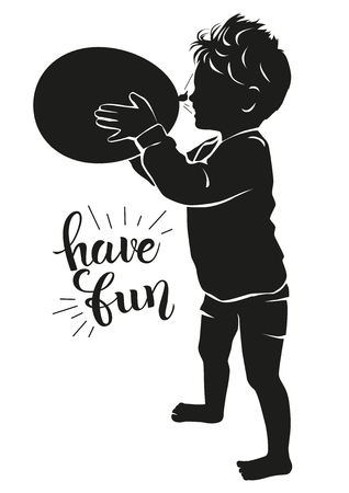 Silhouette happy child with balloon blowing in his face.